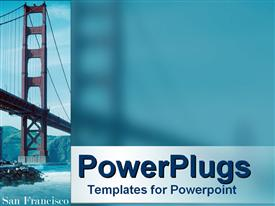 PowerPoint template displaying bridge over the river with hills in the background, San Francisco depiction of the Golden Gate bridge