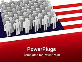 United state flag each state is a man powerpoint template