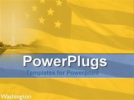 PowerPoint template displaying american flag in background with famous Washington building in distance
