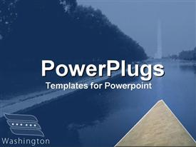 PowerPoint template displaying distant view of Washington monument with trees