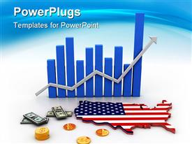 PowerPoint template displaying blue bars chart with gray rising arrow map of America, dollar bills and golden dollar coins