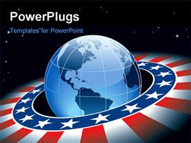 PowerPoint template displaying ring with elements of USA flag and Earth with continents North and South America