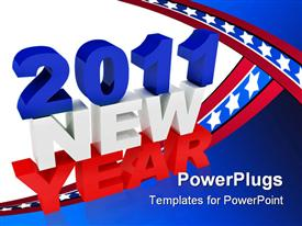 PowerPoint template displaying large 2011 New Year test on a blue and white background