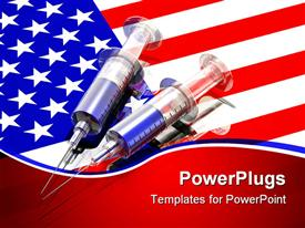 Two large transparent plastic syringes resting on top of a reflective United States powerpoint template