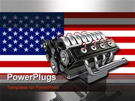 8-cylinder car engine over top of an American flag in a metallic frame template for powerpoint