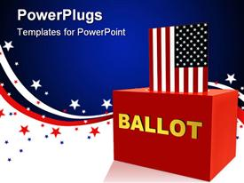 PowerPoint template displaying vote theme American flag inserting into a red 3D block for voting with american flag symbol background