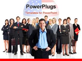 PowerPoint template displaying a number of professionals being lead one person