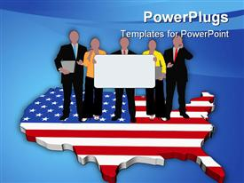 PowerPoint template displaying business team with sign on USA map flag in the background.