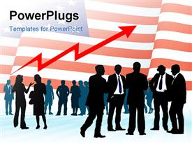 American businesspeople with national flag conceptual business illustration presentation background