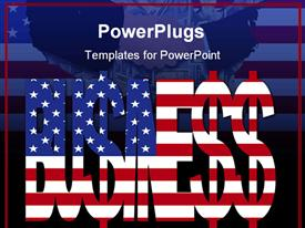 Business text with dollar signs and American flag template for powerpoint