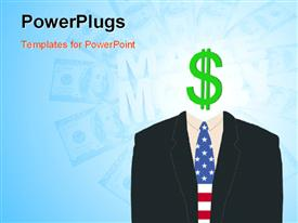 PowerPoint template displaying american businessman with a dollar sign as his face