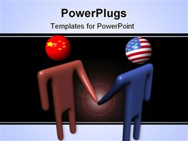 Abstract people shaking hands with Chinese and American flag heads powerpoint theme