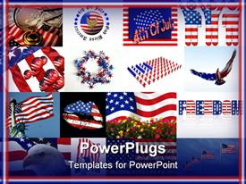 PowerPoint template displaying american flag between Rose Moss colored flowers