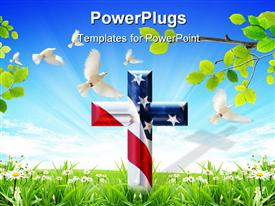 PowerPoint template displaying cross with USA flag chromed with bevel