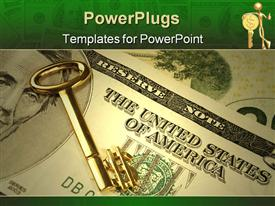 PowerPoint template displaying gold key with the $ symbol at its end lying on us banknotes - indicative of the American dream of