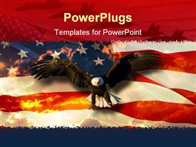 PowerPoint template displaying a beautiful hawk with an American flag in the background