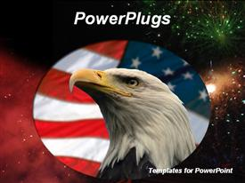 American flag and hawk eagle in front powerpoint theme