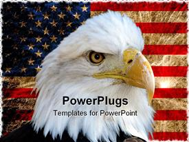 PowerPoint template displaying american bald eagle on vintage American flag