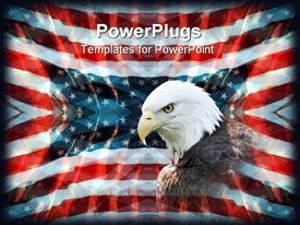 Several layers of US flags with a sharp bald eagle in a feathered layer on top powerpoint design layout
