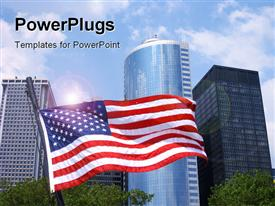 PowerPoint template displaying office buildings with the American flag flying in the background.