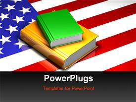 PowerPoint template displaying two glossy books sitting on top of a reflective American flag