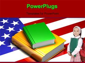 PowerPoint template displaying a cute pupil standing on an American flag with a stack of books