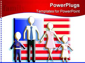 PowerPoint template displaying generic figures of the family standing in front of an American flag