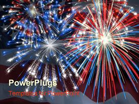 PowerPoint template displaying a firework display being impressed by the american flag along with the flag in the background