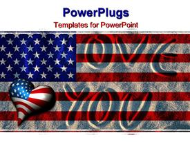 PowerPoint template displaying i Love You written in sand with American flag overlay