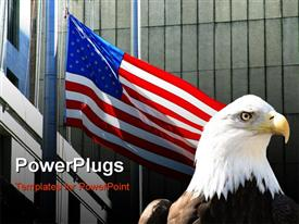 PowerPoint template displaying a large black and white eagle beside a large usa flag