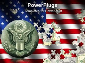 PowerPoint template displaying american flag jigsaw over US dollars in the background.