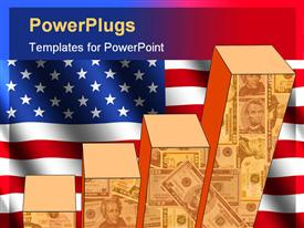 PowerPoint template displaying bar chart and rippled American flag with currency
