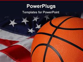 PowerPoint template displaying a basket ball with American flag in the background