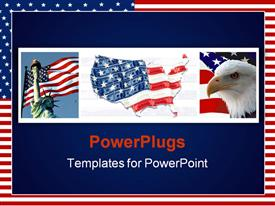 PowerPoint template displaying different tiles containing the US flags and an eagle
