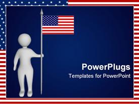 PowerPoint template displaying depiction: a man with the American flag