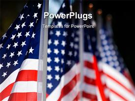 PowerPoint template displaying hoisted American flags lines up for military veterans remembrance