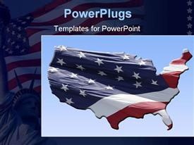 PowerPoint template displaying united states map with real flag overlay ready for you to use