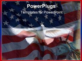 PowerPoint template displaying flying Dove on American Flag