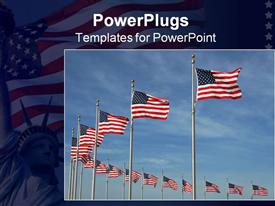 PowerPoint template displaying lots of American flags arranged in a circular row