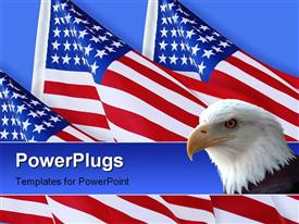 Photo composition of American Flags on blue background for patriotic holiday or wallpaper powerpoint theme