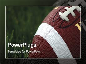 PowerPoint template displaying close-up of American football on grass with blurred frame