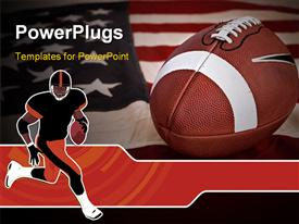 PowerPoint template displaying football America favorite sport. A ball on a vintage Old Glory
