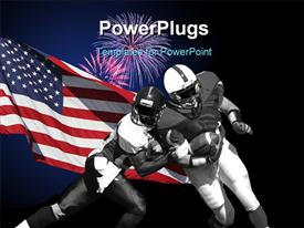 PowerPoint template displaying american football players during match over American flag on black background