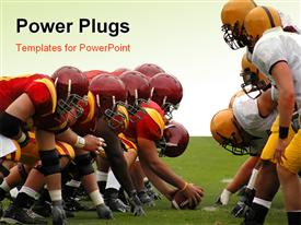 PowerPoint template displaying two fooball teams in front of each other