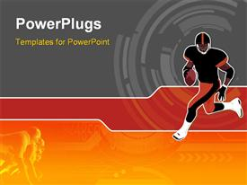 PowerPoint template displaying american Football running man (wallpaper background logo...)