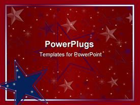 PowerPoint template displaying big blue and red star logos on a red background