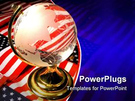 PowerPoint template displaying partially transparent school globe with American flags laid on the background