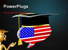 PowerPoint template displaying american graduation in the background.