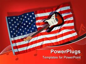 PowerPoint template displaying electric guitar sitting on American flag with red background and music notes