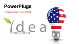 PowerPoint template displaying a bulb with an American flag on it